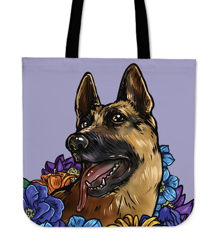Illustrated German Shepherd Linen Tote Bag