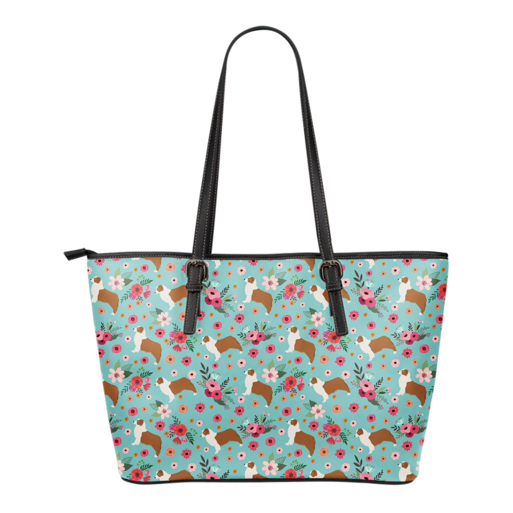 Australian Shepherd Flower Tote Bag