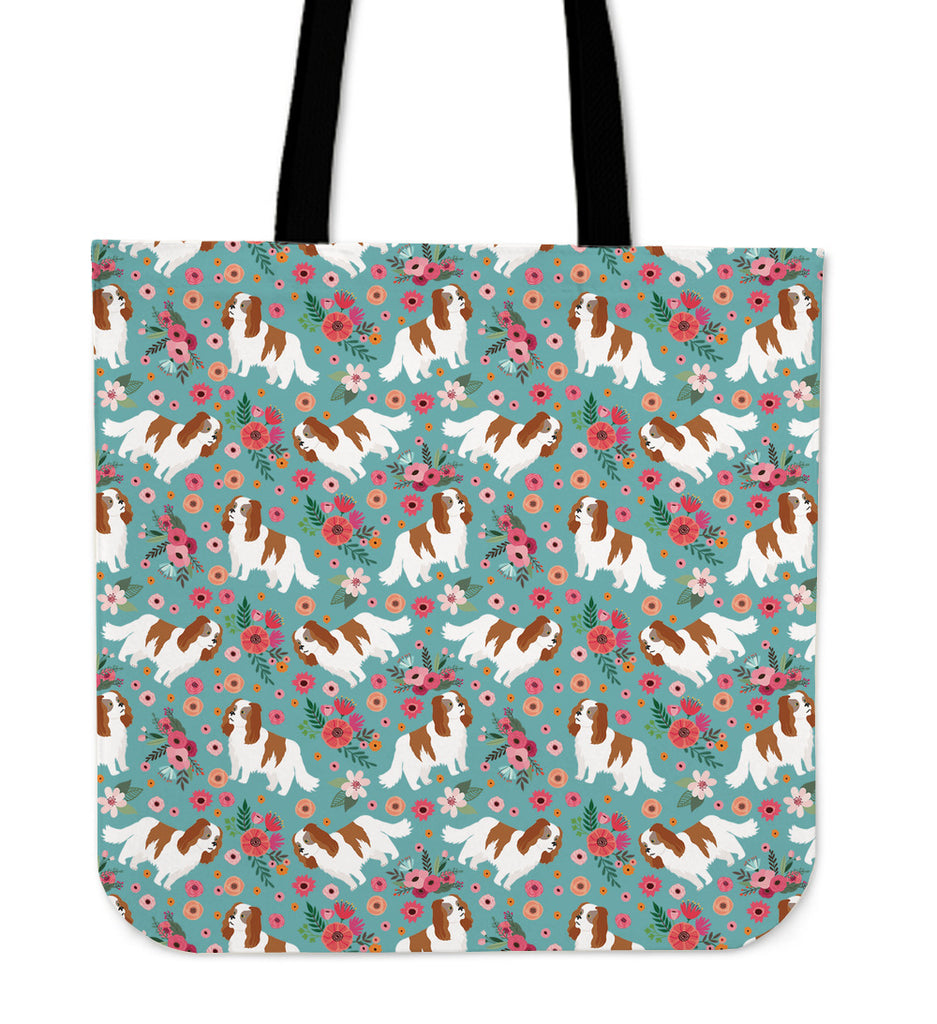 Cavalier King Charles Flower Linen Tote Bag