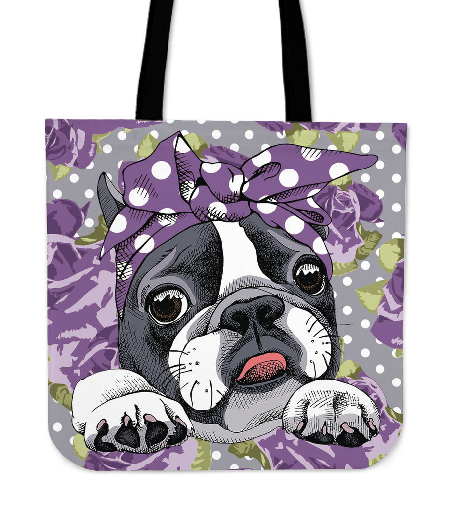 Floral Boston Terrier Purple Linen Tote Bag