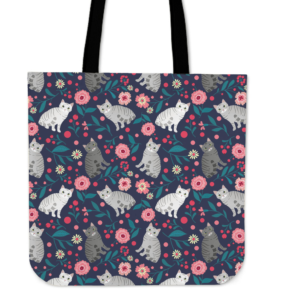 American Shorthair Cat Flower Linen Tote Bag