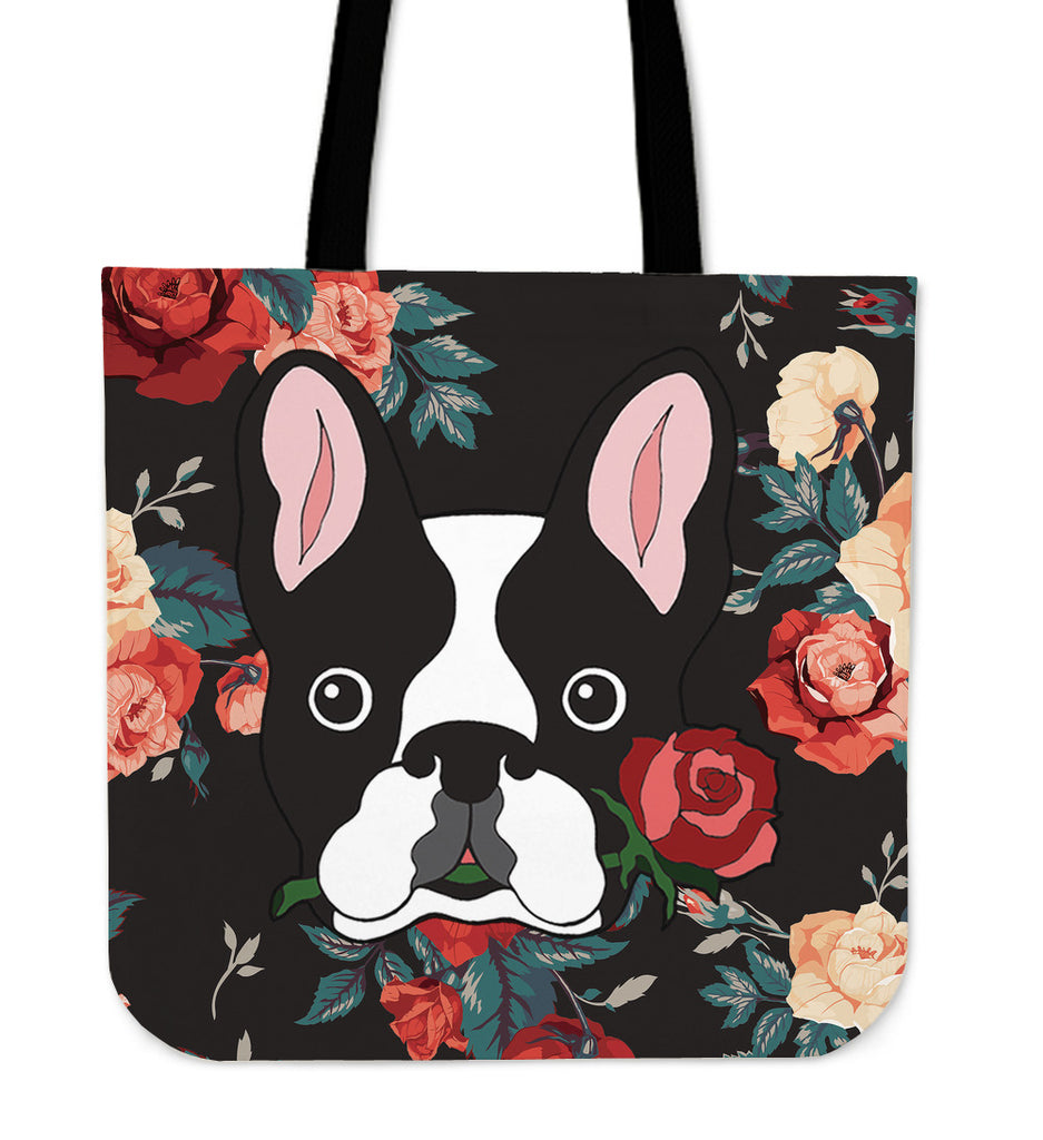 Boston Terrier Rose Linen Tote Bag