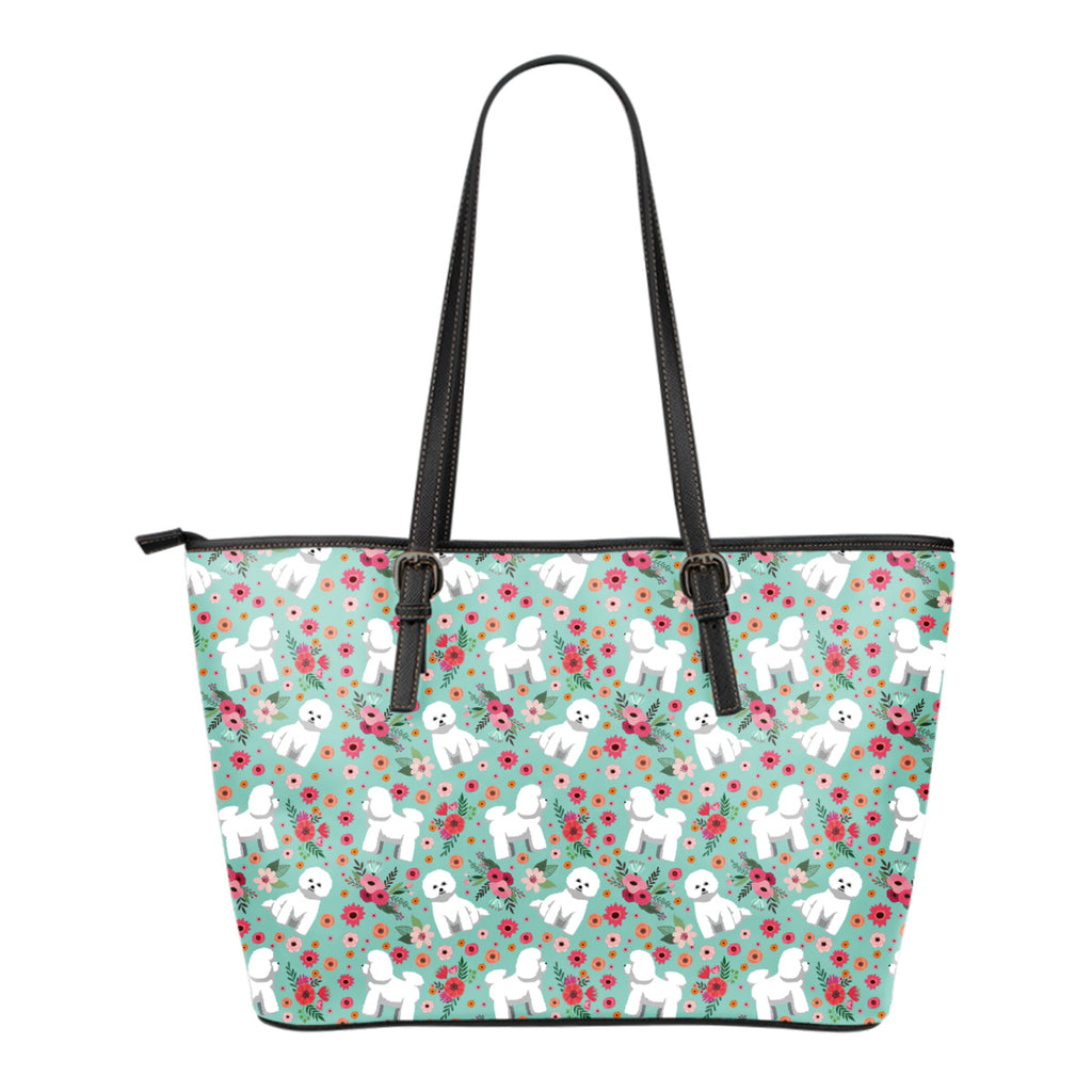 Bichon Frise Flower Tote Bag