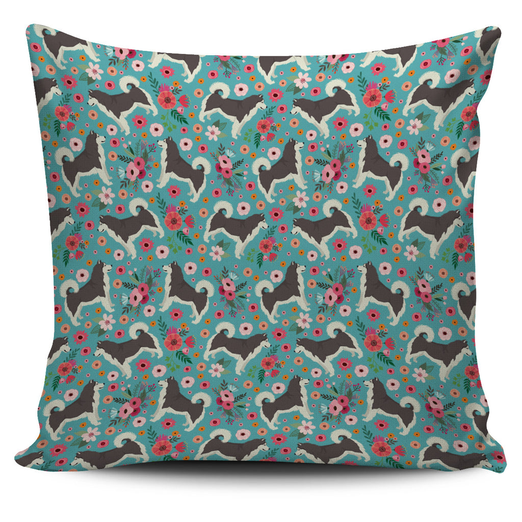 Alaskan Malamute Flower Pillow Cover