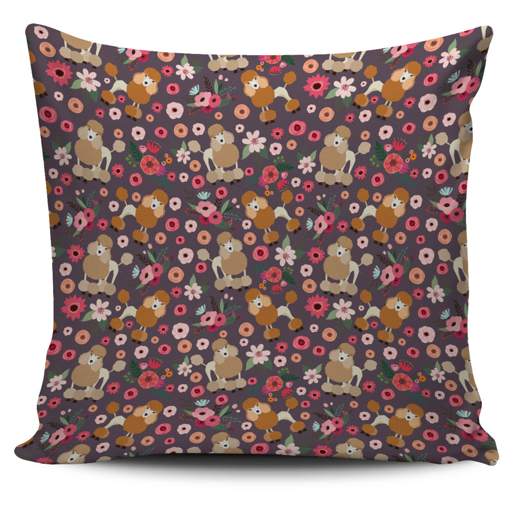 Poodle Flower Pillow Cover