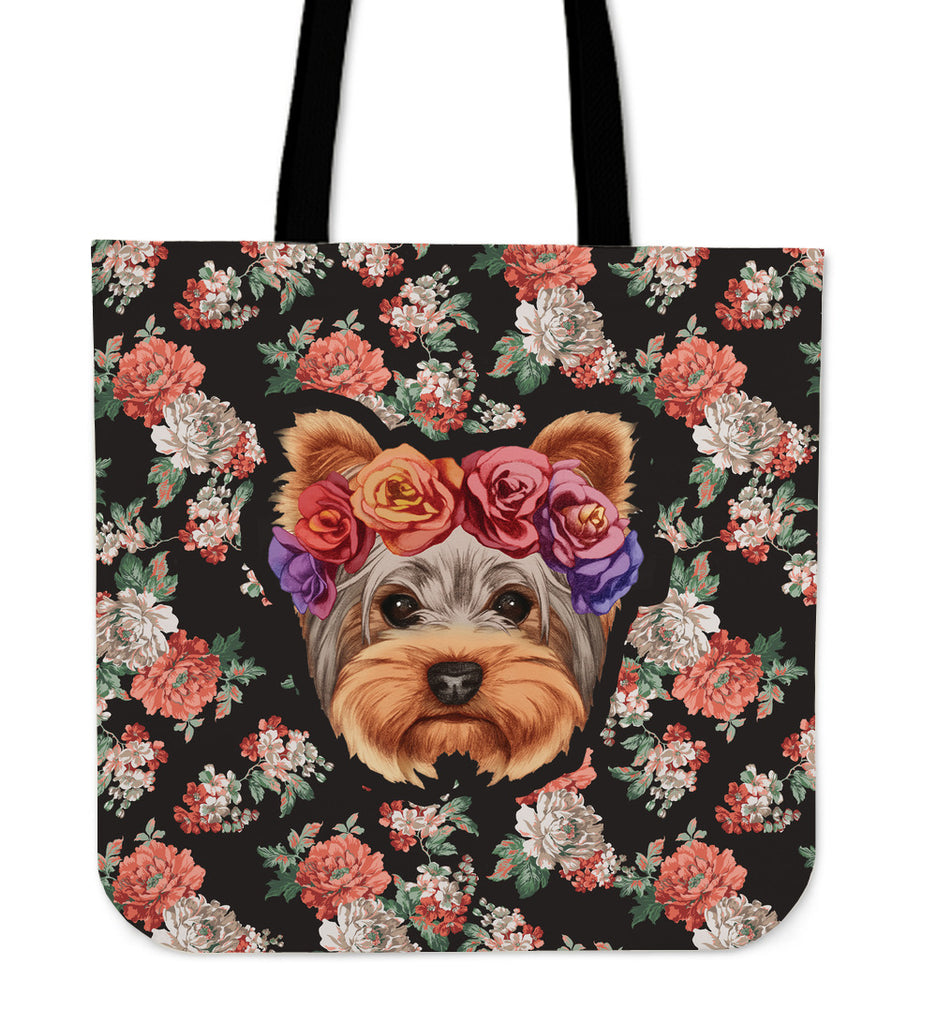 Floral Yorkie Linen Tote Bag