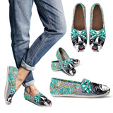 Floral Boston Terrier Turquoise Casual Shoes-Clearance