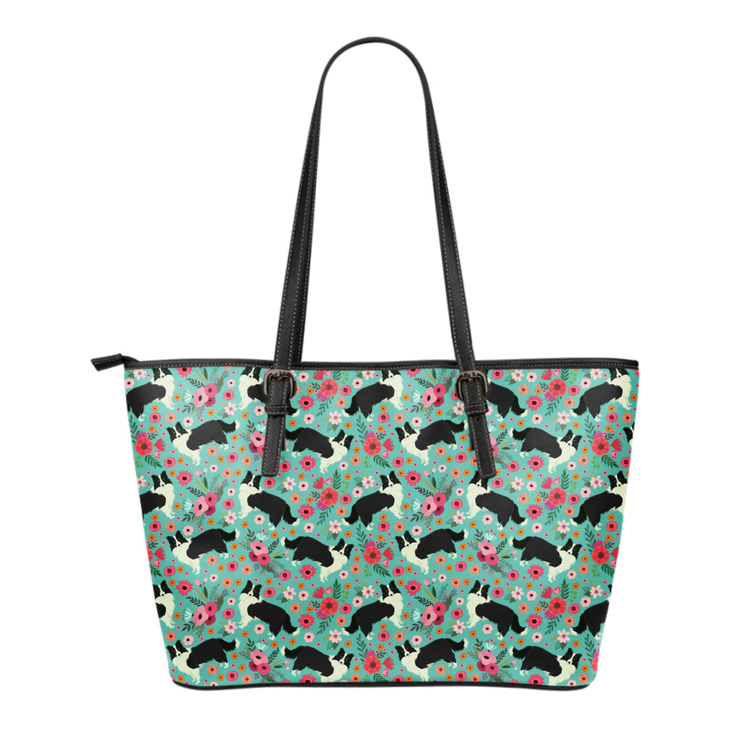 Border Collie Flower Tote Bag