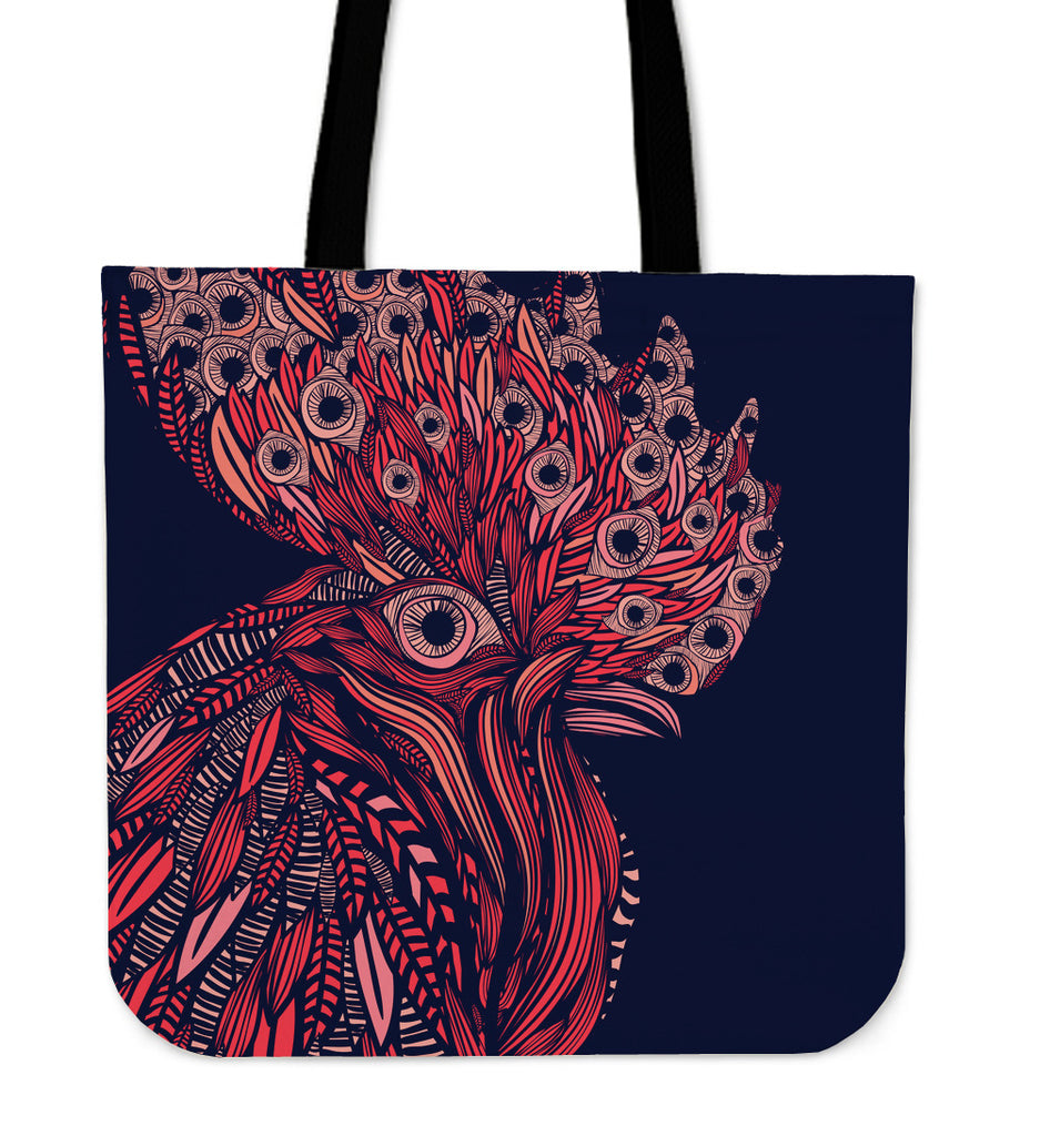 Artsy Rooster Linen Tote Bag