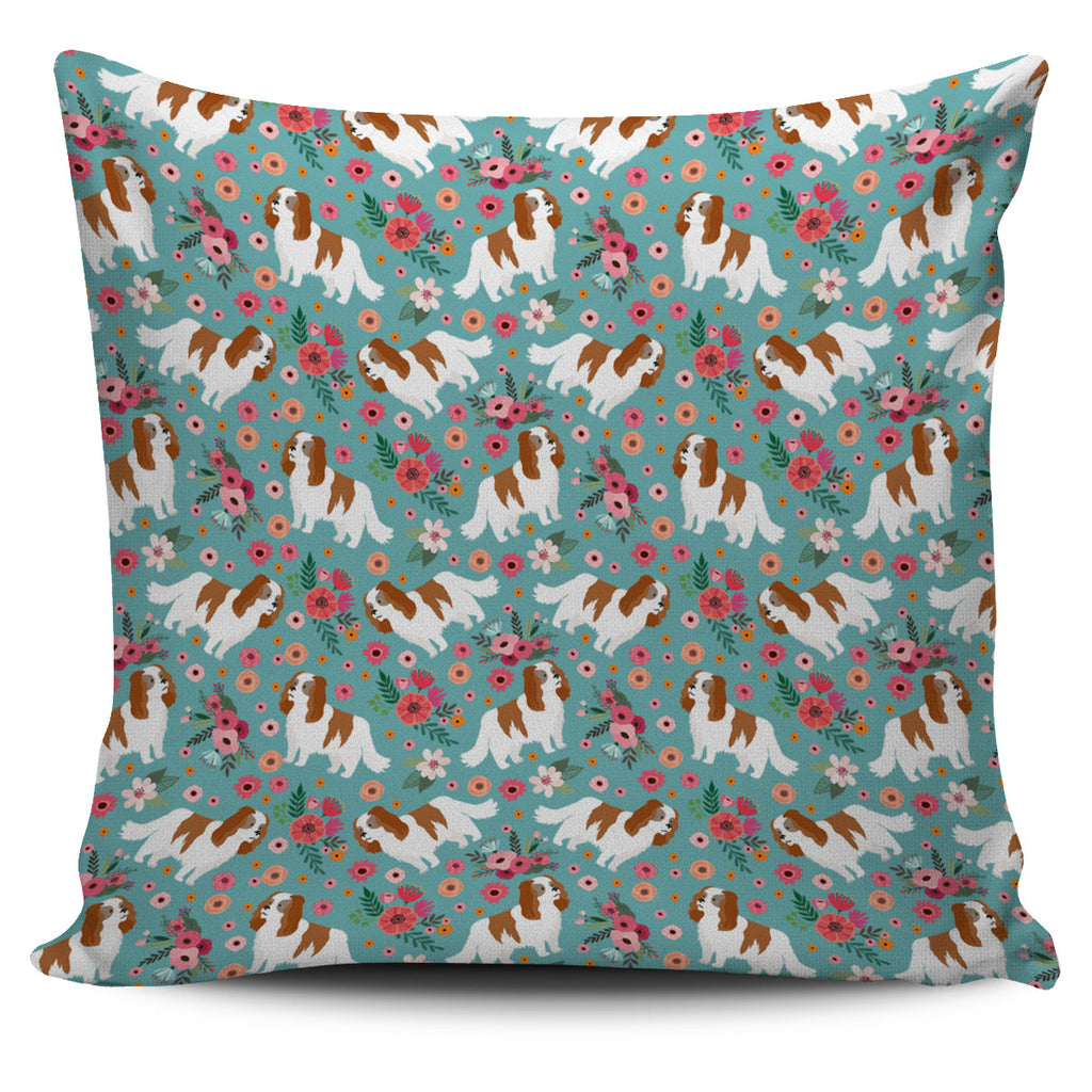 Cavalier King Charles Flower Pillow Cover