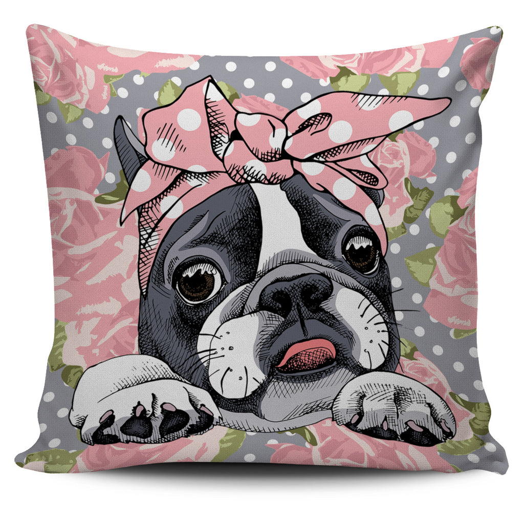 Floral Boston Terrier Pink Pillow Cover