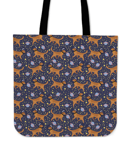 Space Golden Retriever Linen Tote Bag