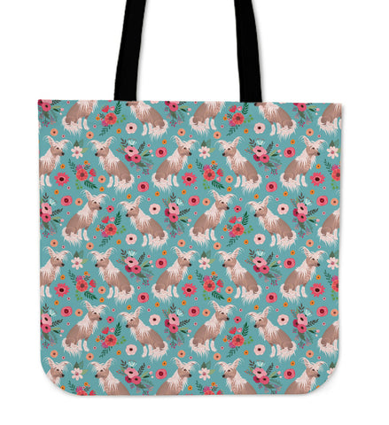 Chinese Crested Flower Linen Tote Bag