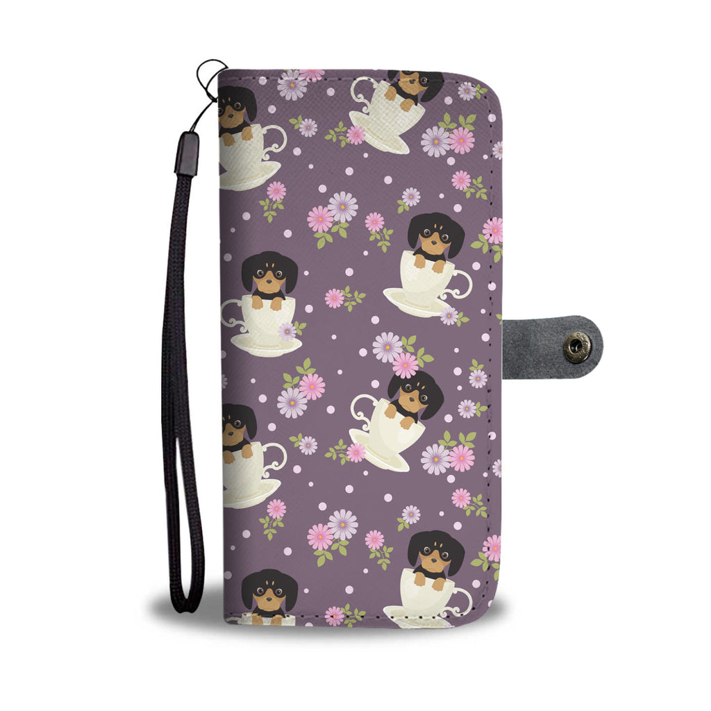 Dachshund Cup Of Tea Wallet Phone Case