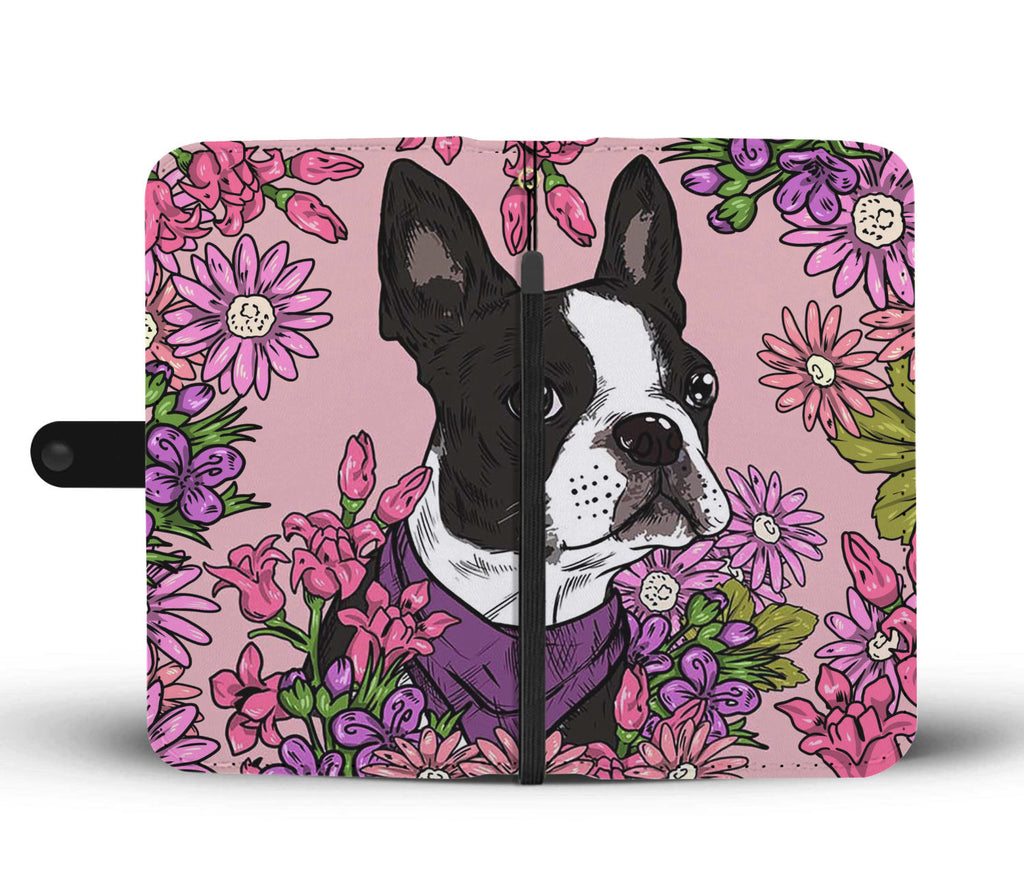 Illustrated Boston Terrier Wallet Phone Case