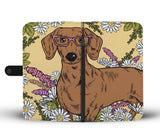 Illustrated Dachshund Wallet Phone Case