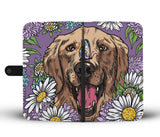 Illustrated Golden Retriever Wallet Phone Case