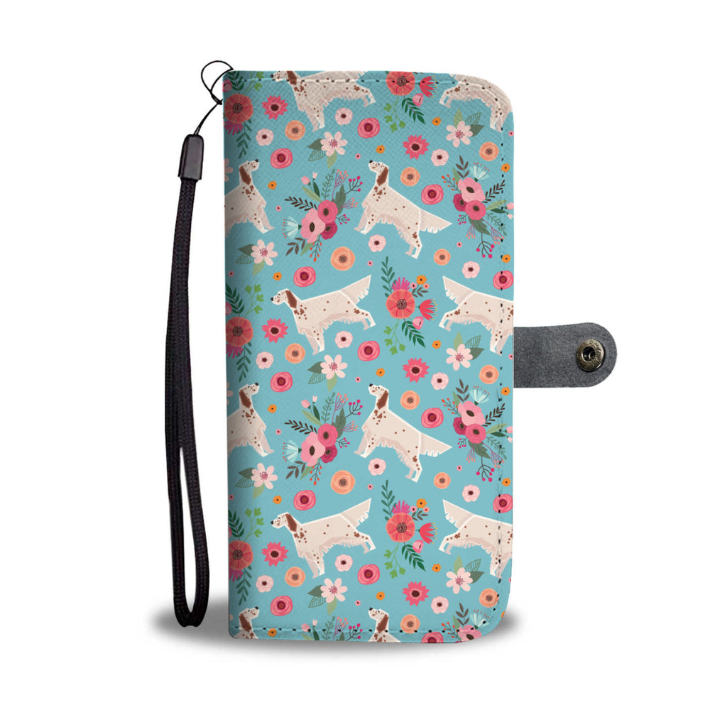 English Setter Flower Wallet Phone Case
