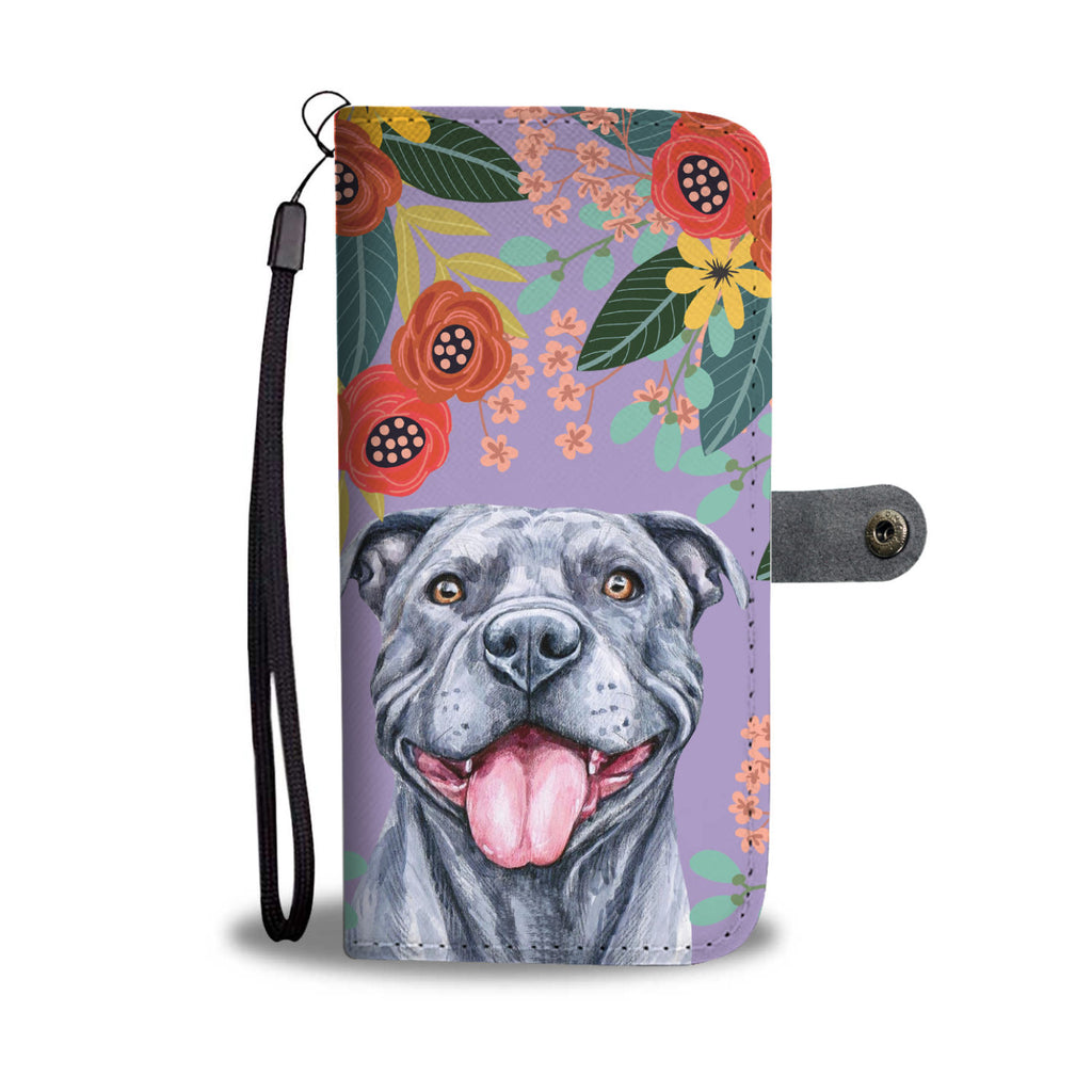 Joyful Grey Pit Bull Wallet Phone Case