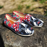 Floral Boston Terrier Casual Shoes