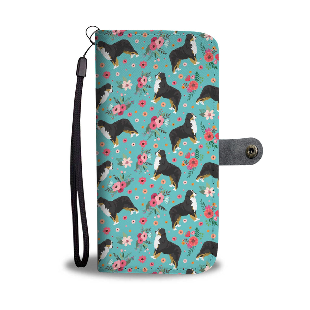 Bernese Mountain Dog Flower Wallet Phone Case