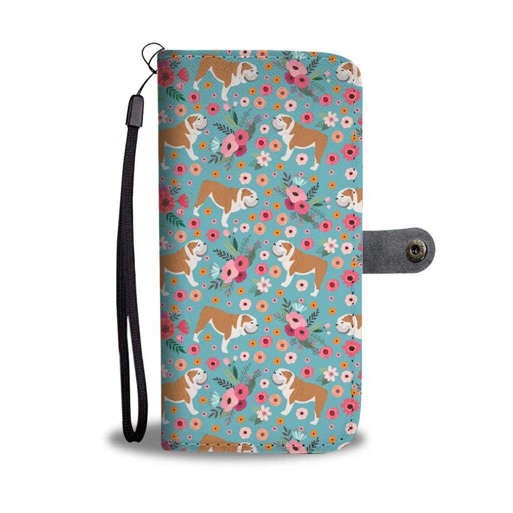 Bulldog Flower Wallet Phone Case