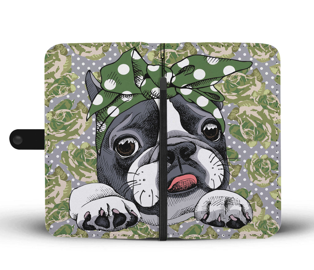Floral Boston Terrier Green Wallet Phone Case