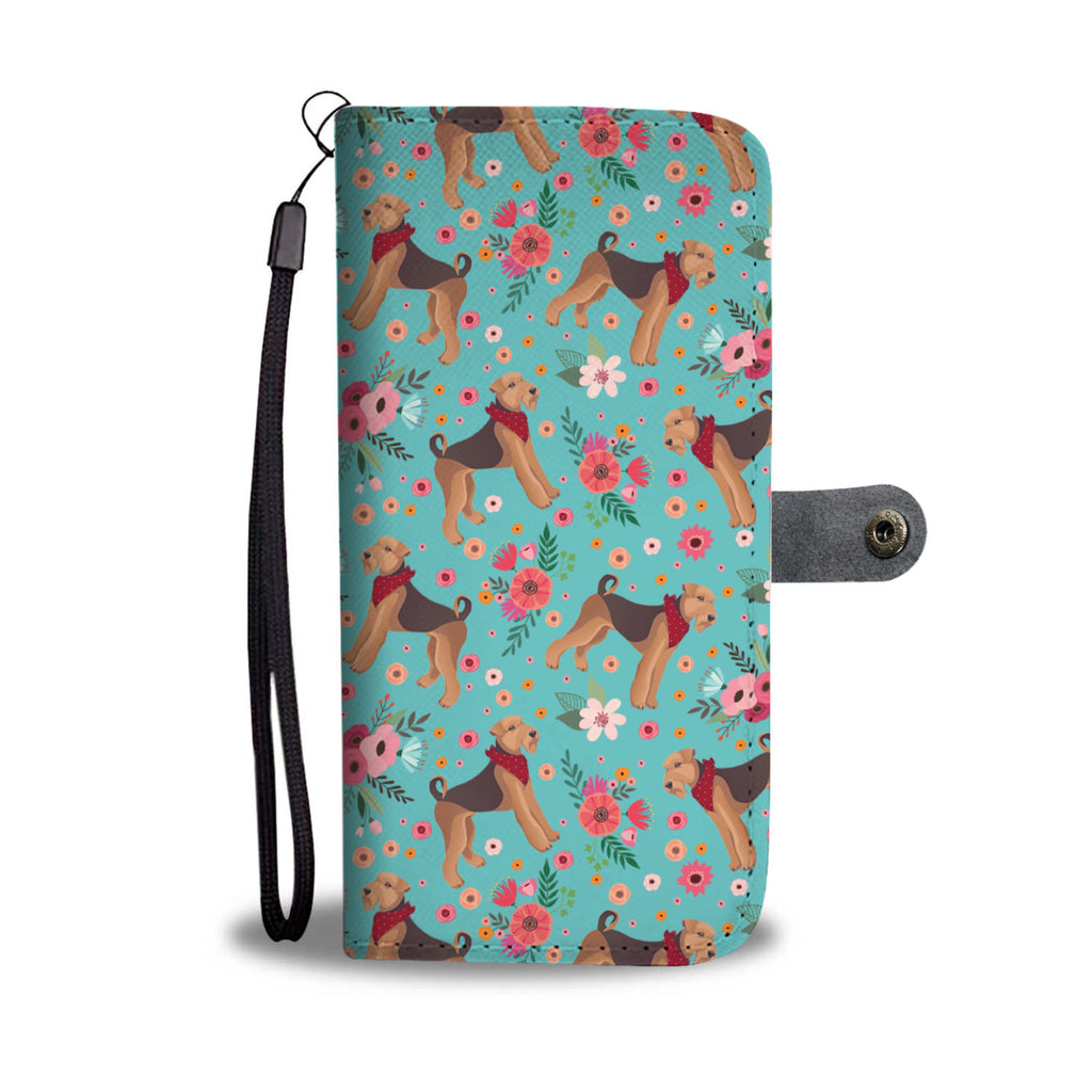 Airedale Terrier Flower Wallet Phone Case