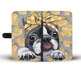 Floral Boston Terrier Yellow Wallet Phone Case
