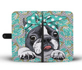 Floral Boston Terrier Turquoise Wallet Phone Case