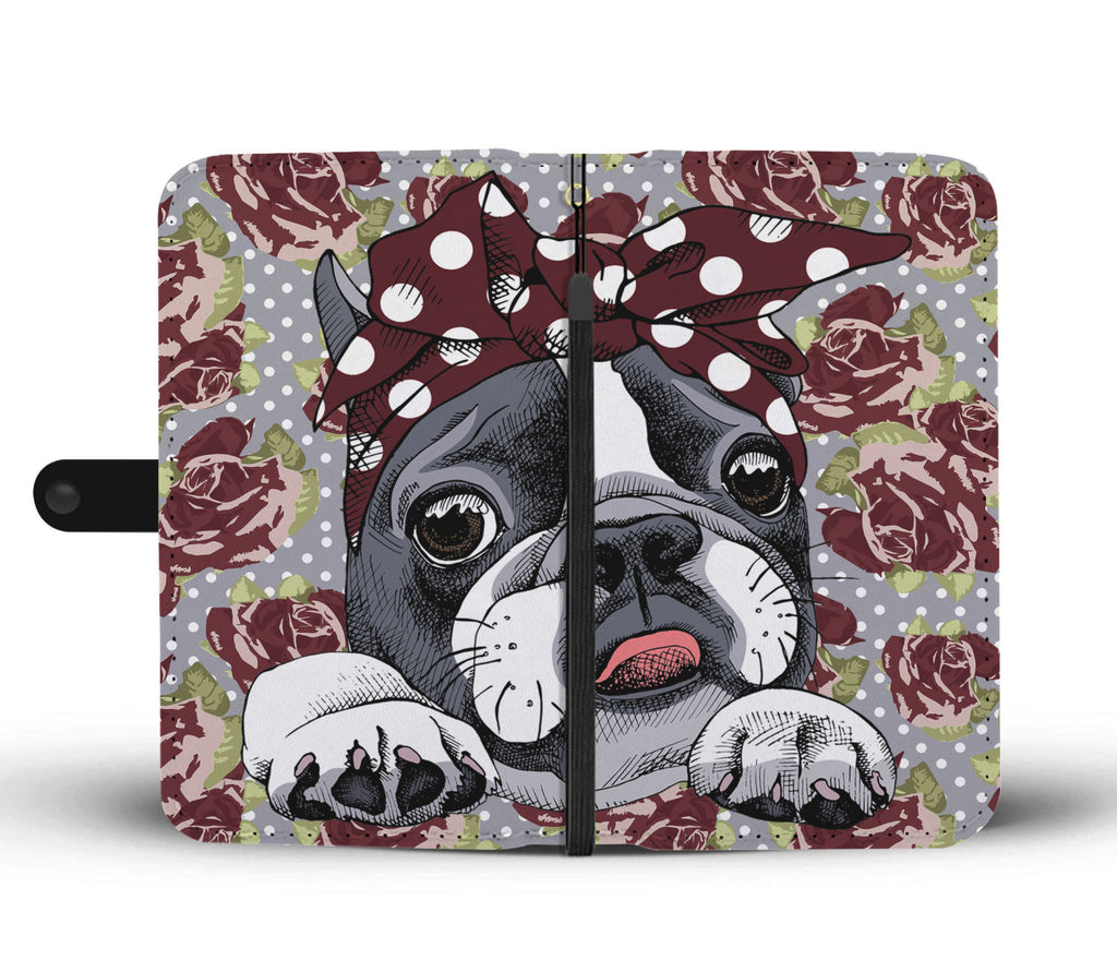 Floral Boston Terrier Dark Red Wallet Phone Case