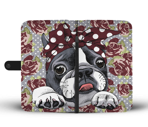Floral Boston Terrier Dark Red Wallet Phone Case-Clearance