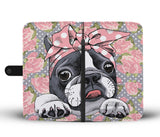 Floral Boston Terrier Pink Wallet Phone Case