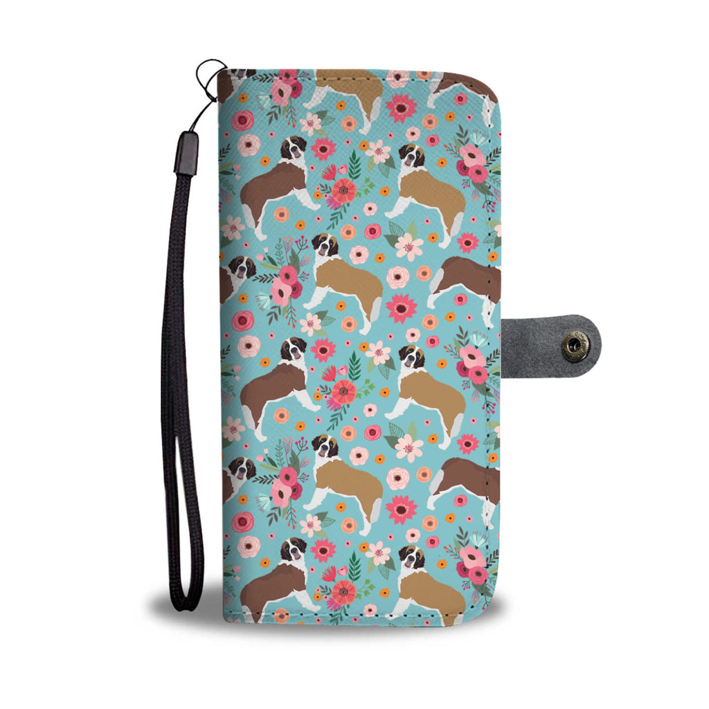 St. Bernard Flower Wallet Phone Case
