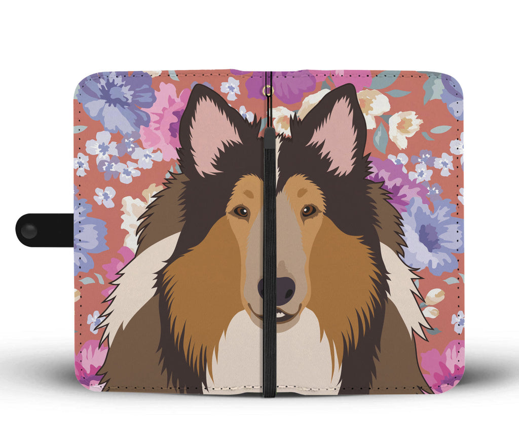 Rough Collie Dog Portrait Wallet Phone Case