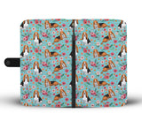 Basset Hound Flower Wallet Phone Case