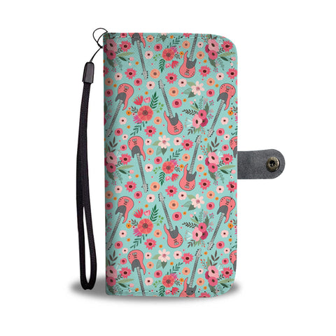 Electric Guitar Flower Wallet Phone Case