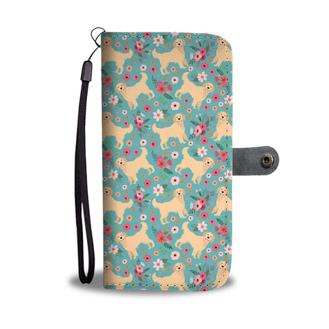 Golden Retriever Flower Wallet Phone Case