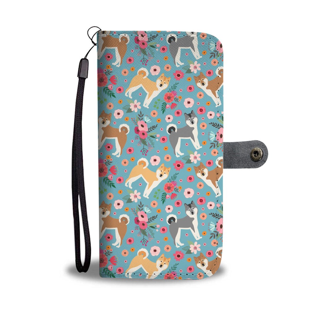 Akita Flower Wallet Phone Case