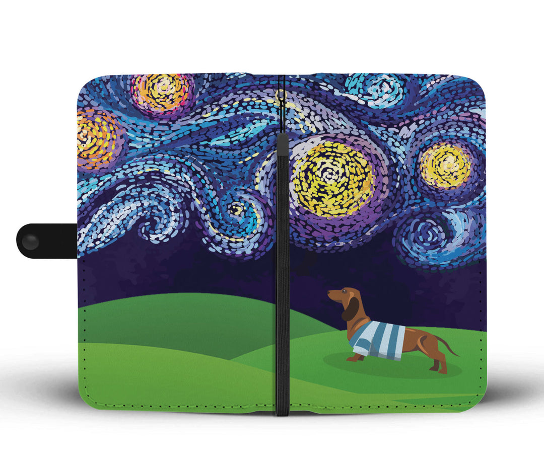 Starry Night Dachshund Wallet Phone Case
