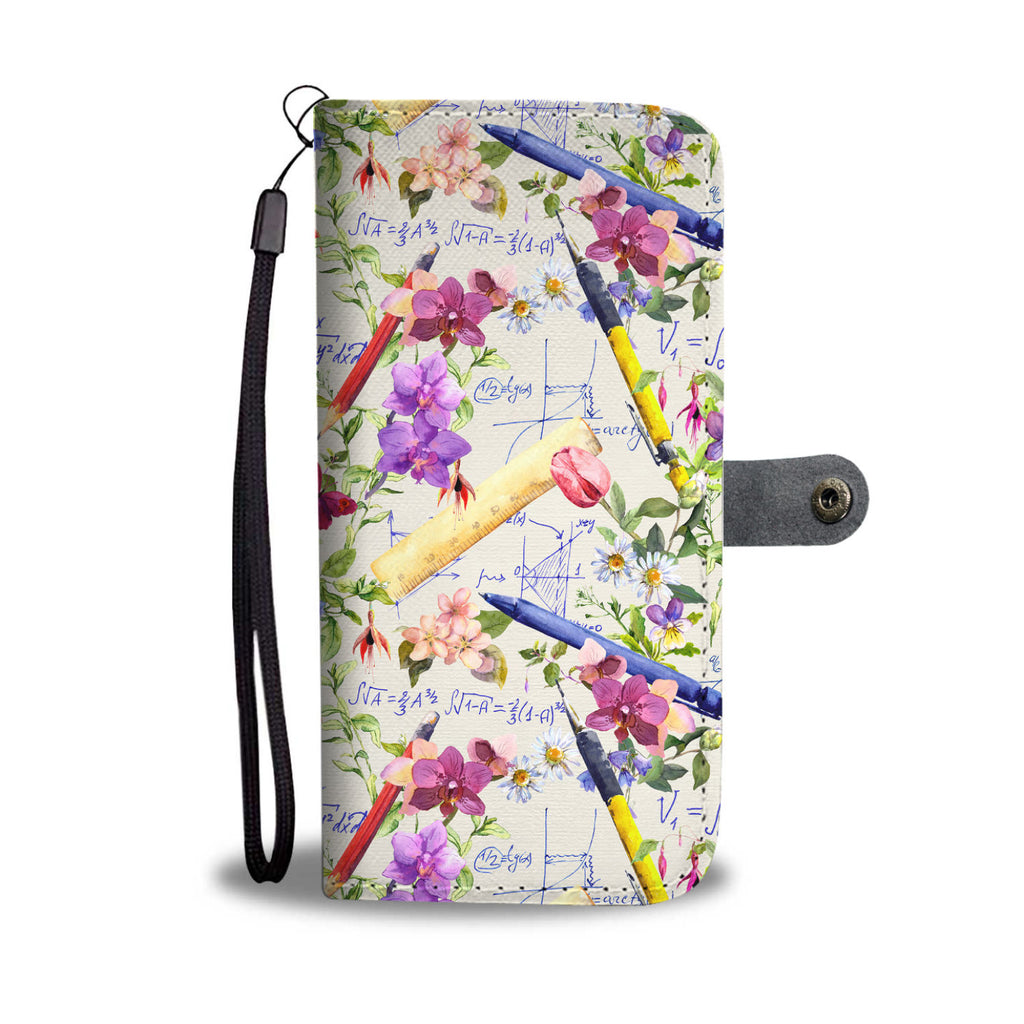 Floral Math Wallet Phone Case-Clearance