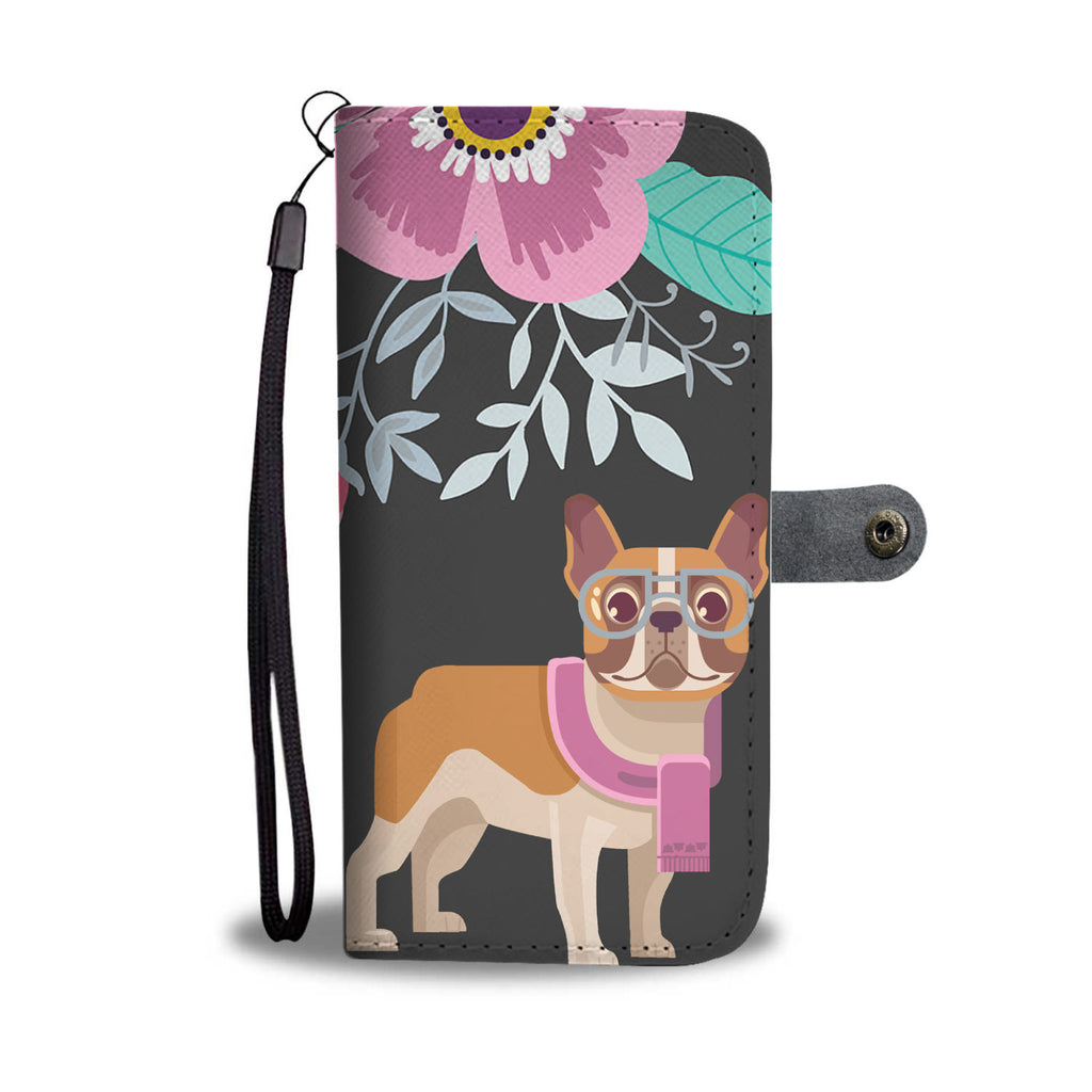 Floral French Bulldog Wallet Phone Case