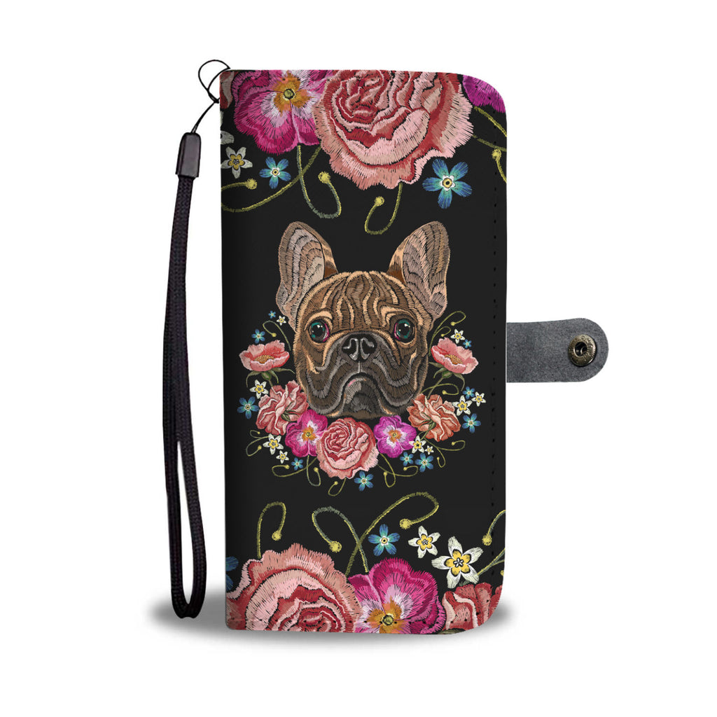Embroidery Dog Wallet Phone Case