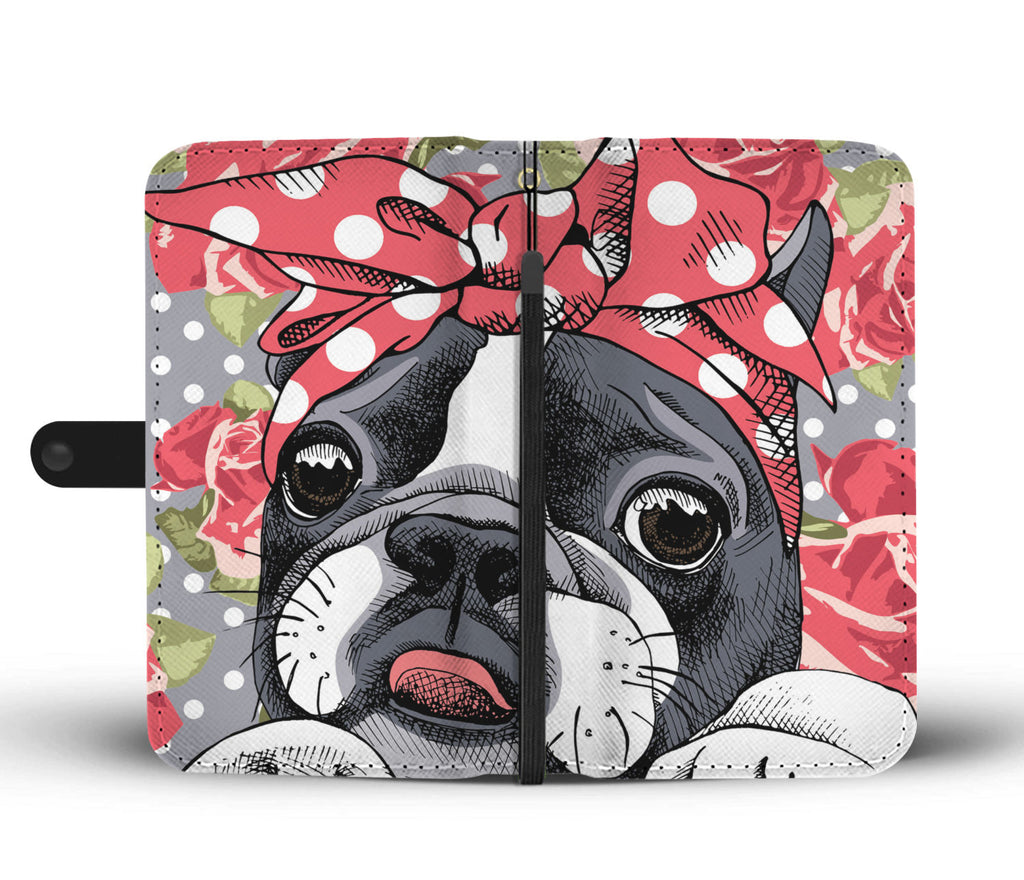 Floral Boston Terrier Wallet Phone Case-Clearance