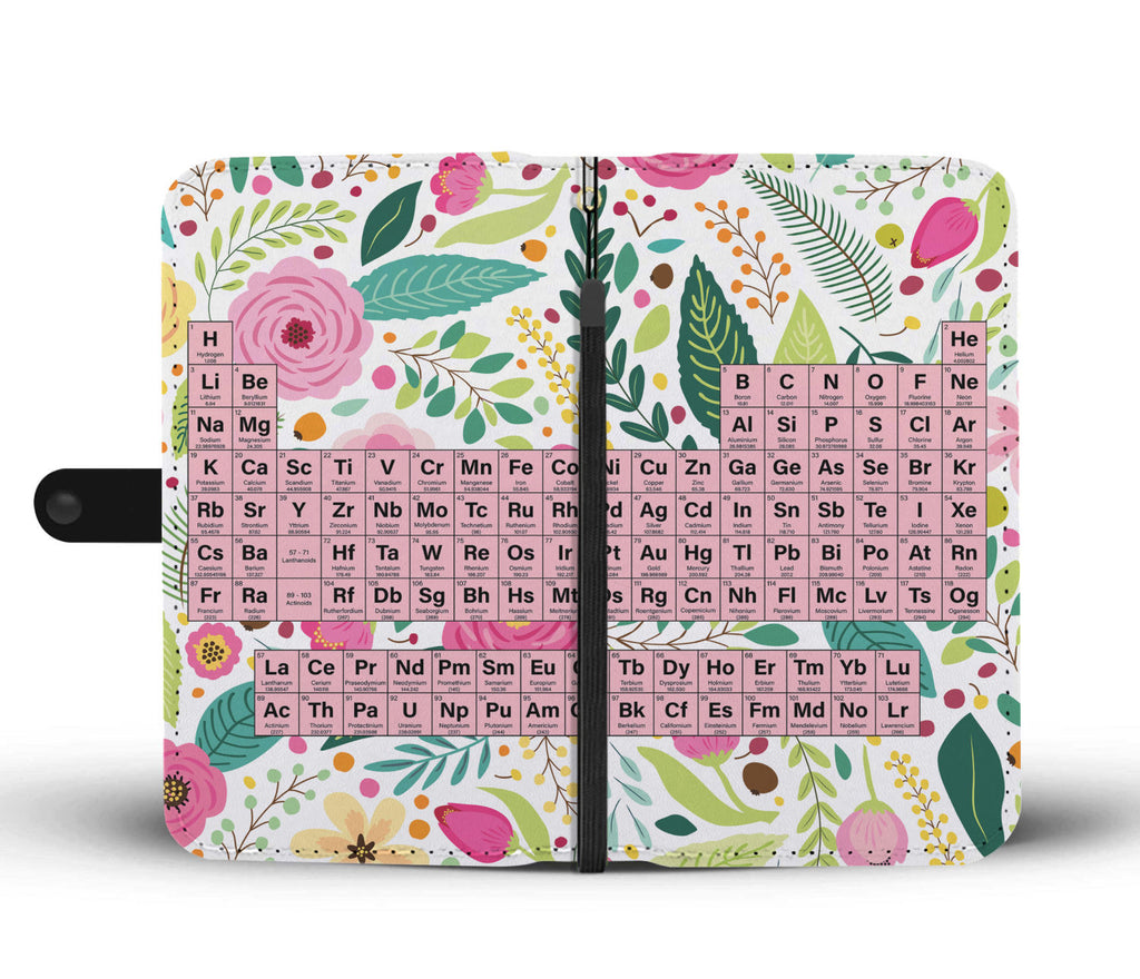 Floral Periodic Table Wallet Phone Case