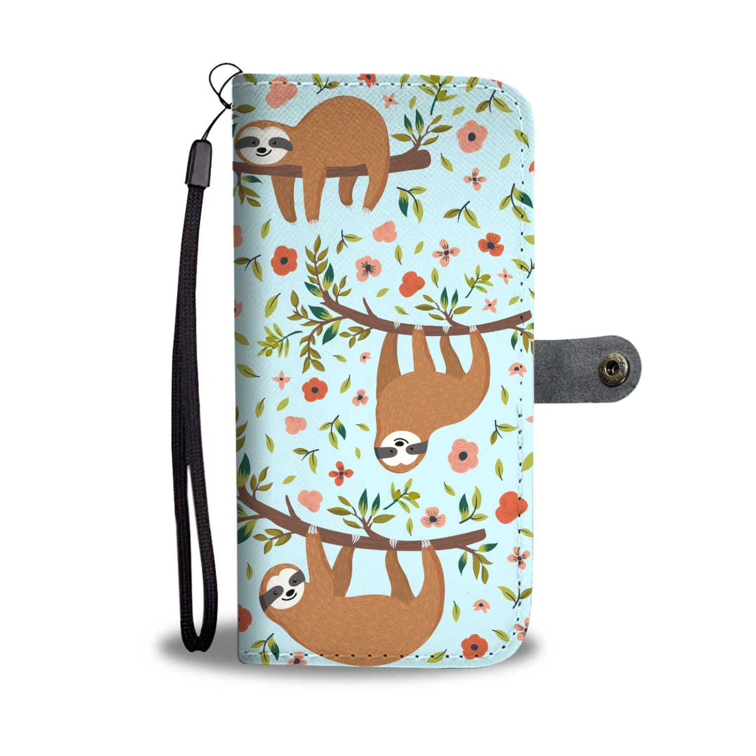 huge discount c2082 76a8c Floral Sloth Wallet Phone Cover – Groove Bags