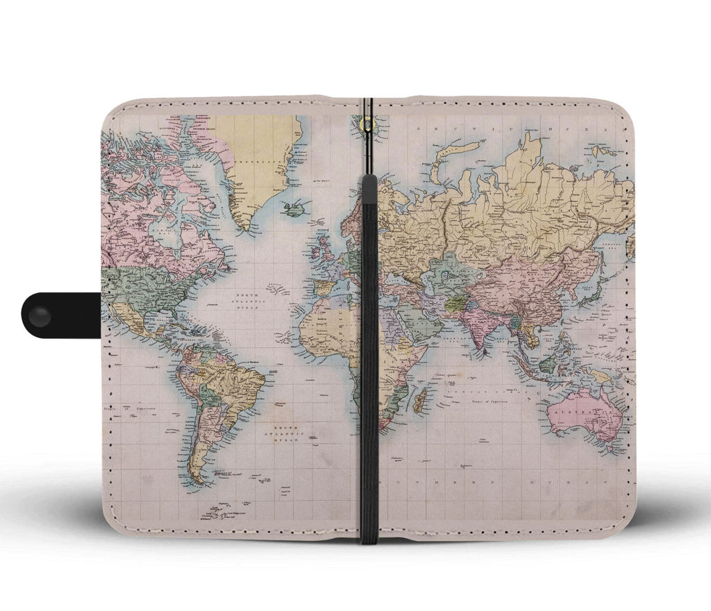 Vintage Geography Globe Wallet Phone Case