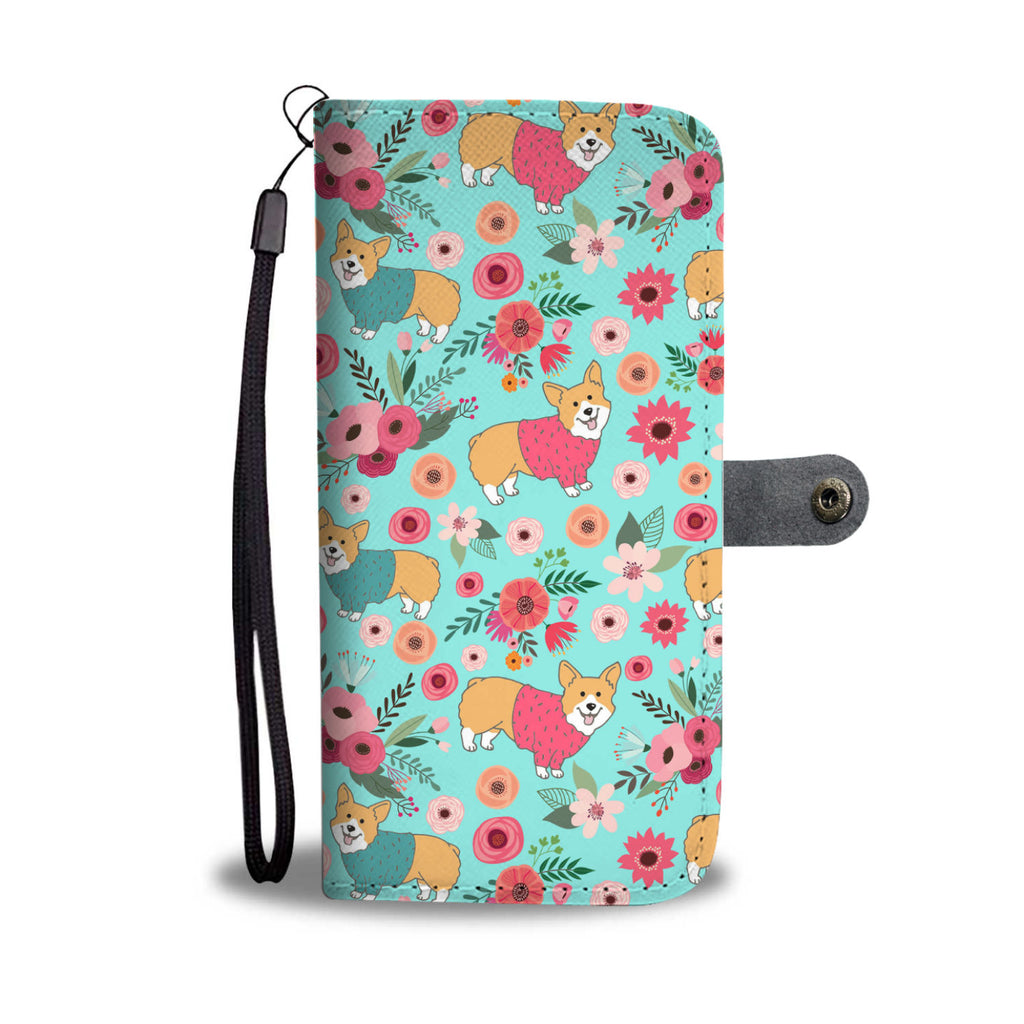 Corgi Flower Wallet Phone Case
