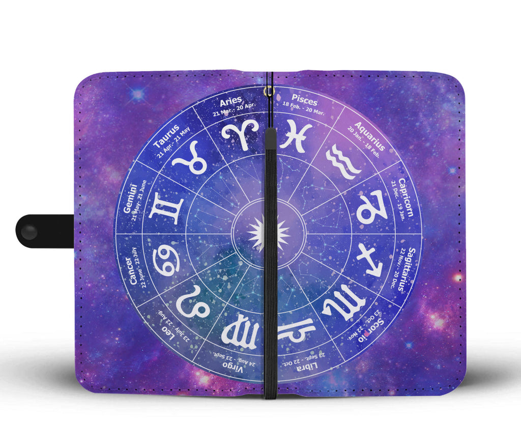 Watercolor Zodiac Chart Wallet Phone Case