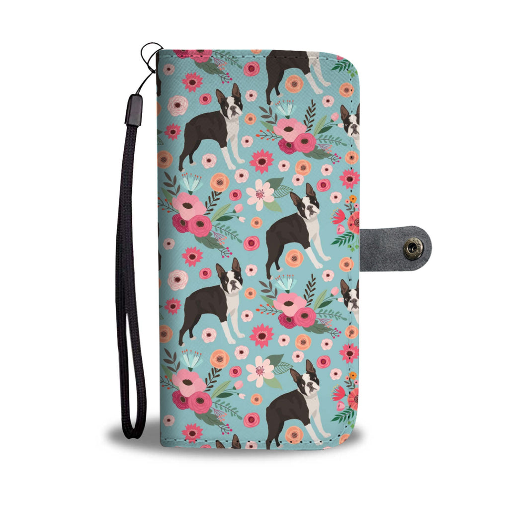 Boston Terrier Flower Wallet Phone Case